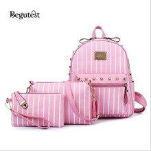 Begutest Brand Designer 3  In 1 Women Bag Stone Women Backpacks Pu Leather Shoulder Bag Female Vintage Clutch Tote Bolsas