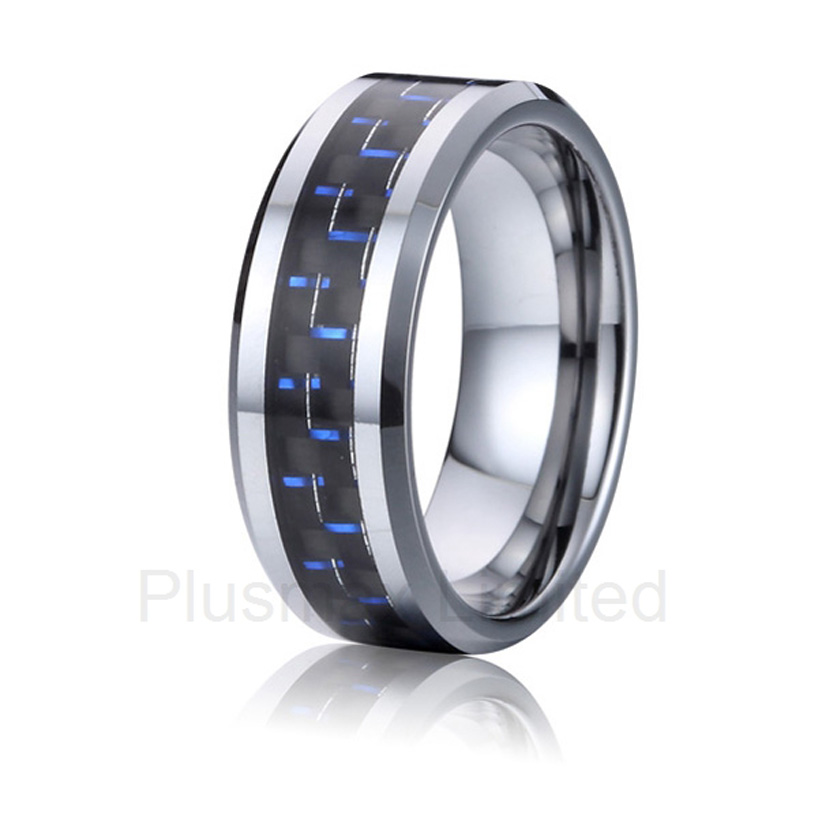 high quality China wholesaler fashion jewelry blue carbon fiber metal titanium wedding wedding rings for men