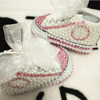 Free Shipping Rhinestone Crystal Baby Girl Child Shoes Handmade Bling Diamond First Walkers Bead Soft Shoes