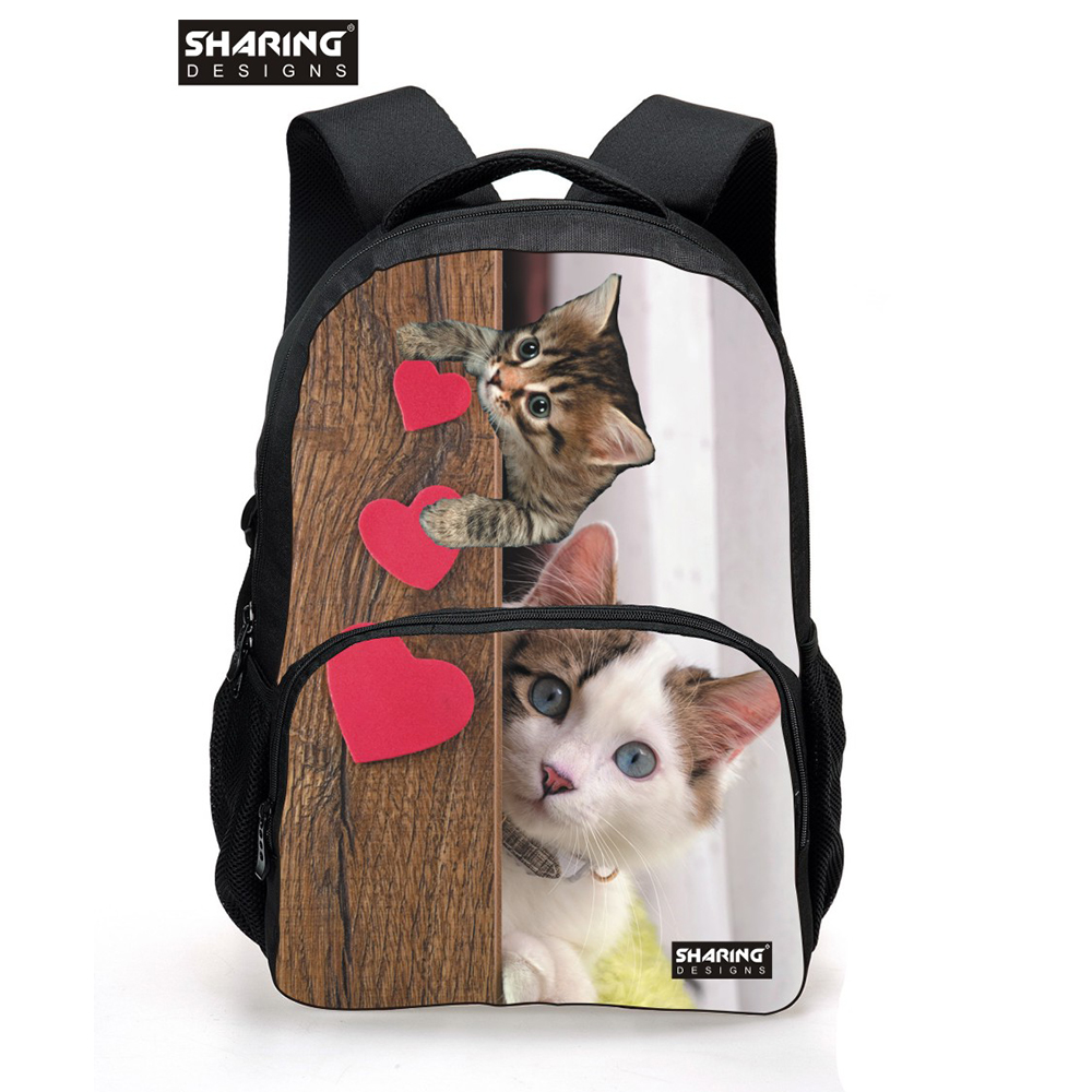 3D Animal School Bag for Girls Cute Pet Cat Dog Head Kids Children Schoolbags Jeans Denim Blue Women school Bag Mochila cartable minions ninja mini messenger bag children cute animal dog cat horse printing school bags boys kids book bag for snack best gift