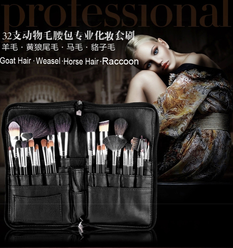 ФОТО 32pcs Cosmetic Animal Hair Brush Set with Pouch Premium Goat Brushes Zipper Folio Makeup Apron Bag
