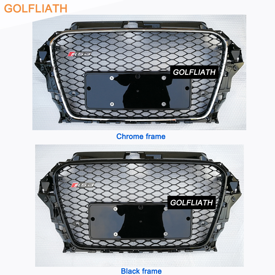 New arrival RS3 style no emblem front grille black painting auto car front bumper mesh grill fit for Audi A3 S3 RS3 2013-2015 new auto car super bee for charger srt8 front grill grille emblem badge 02