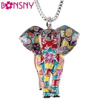 Bonsny Statement Maxi Alloy Enamel Jungel Elephant Choker Necklace Chain Pendant Collar 2017 Fashion New Enamel