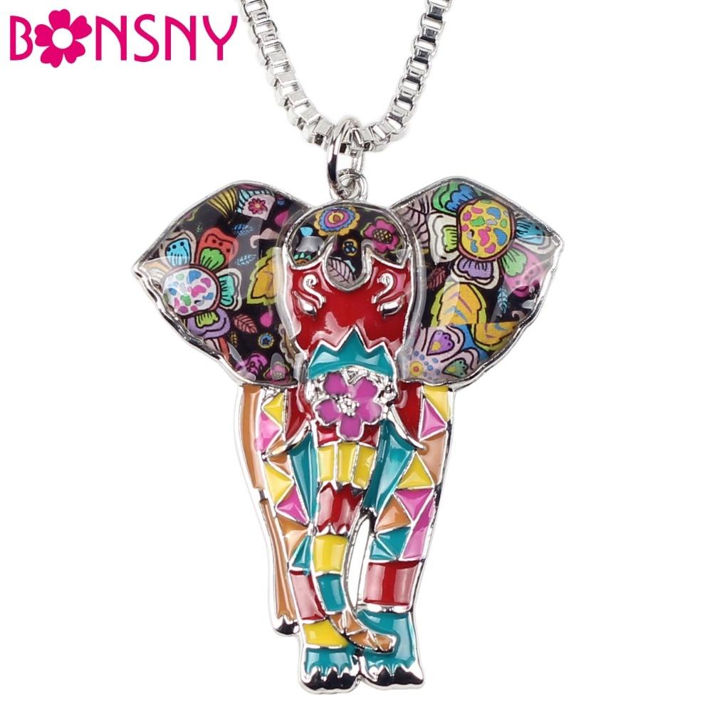 Bonsny Statement Maxi Alloy Enamel Jungel Elephant Choker Ne