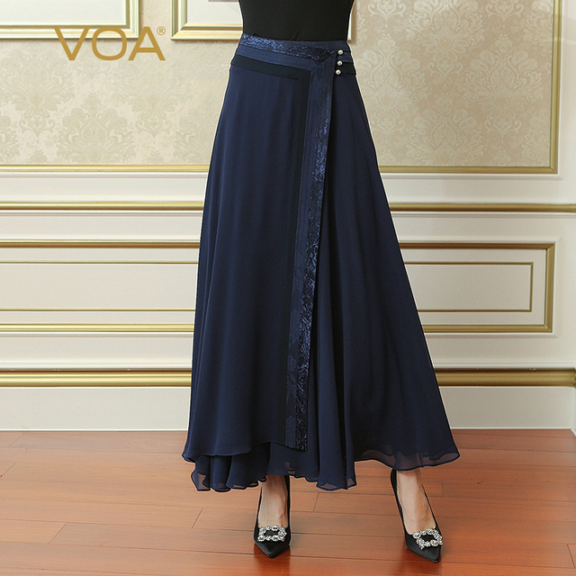 427082f5a92 VOA Navy Blue Plus Size Loose Women Maxi Long Pleated Skirt Silk Georgette  Brief Solid Casual Skirt Pearl faldas Ladies CLA02801