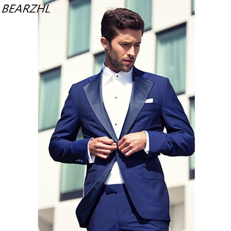 6c92be35c € 131.53 |Playa trajes de boda azul real para los hombres traje slim fit  moderno smoking del novio alta calidad prom wear 2017 en Trajes de La ropa  ...