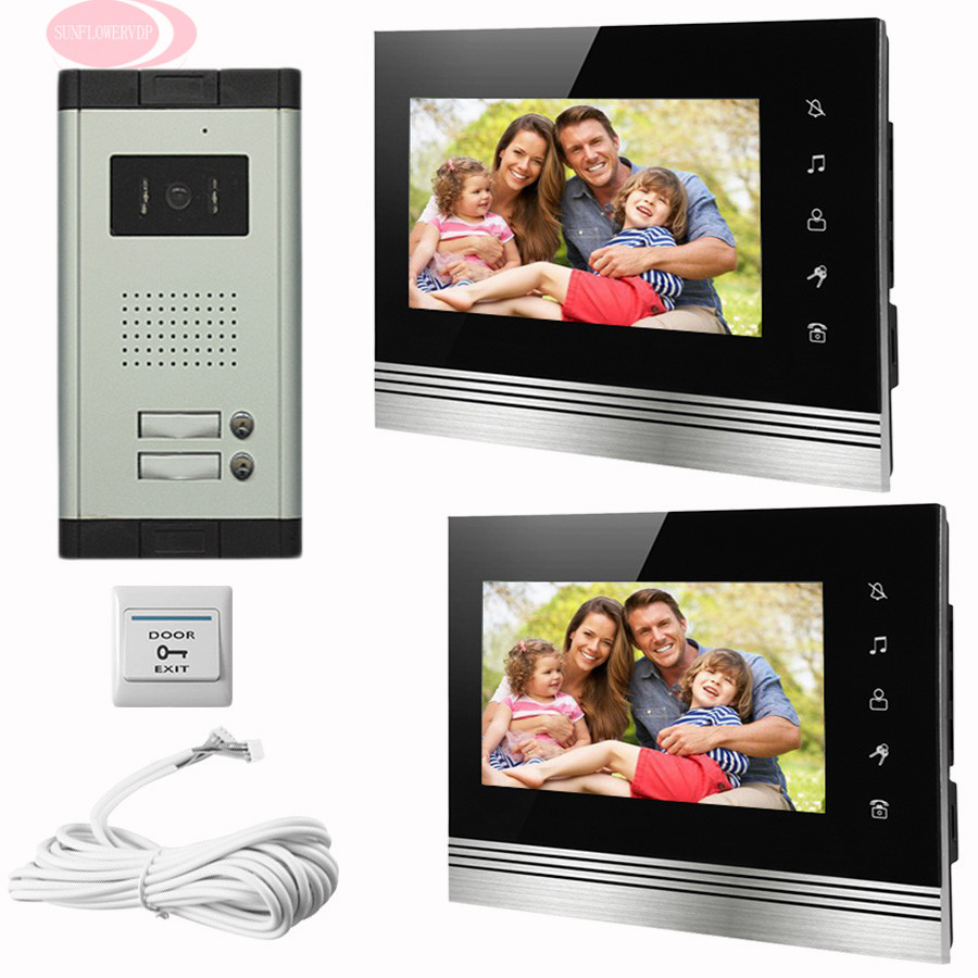 SUNFLOWERVDP Doorphone For Video Intercom Touch Button Door Monitor 7'' Color LCD 2 Monitor Infared Night Vision Home phone Kit sunflowervdp wired video door phone 7inch tft color lcd inner door bell fingerprint code unlock touch button intercom video kit