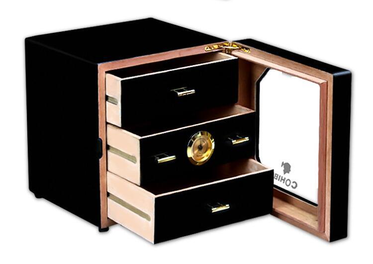 Luxury Black Cedar Wood Cigar Humidor Cabinet Storage Box Hygrometer Humidifier