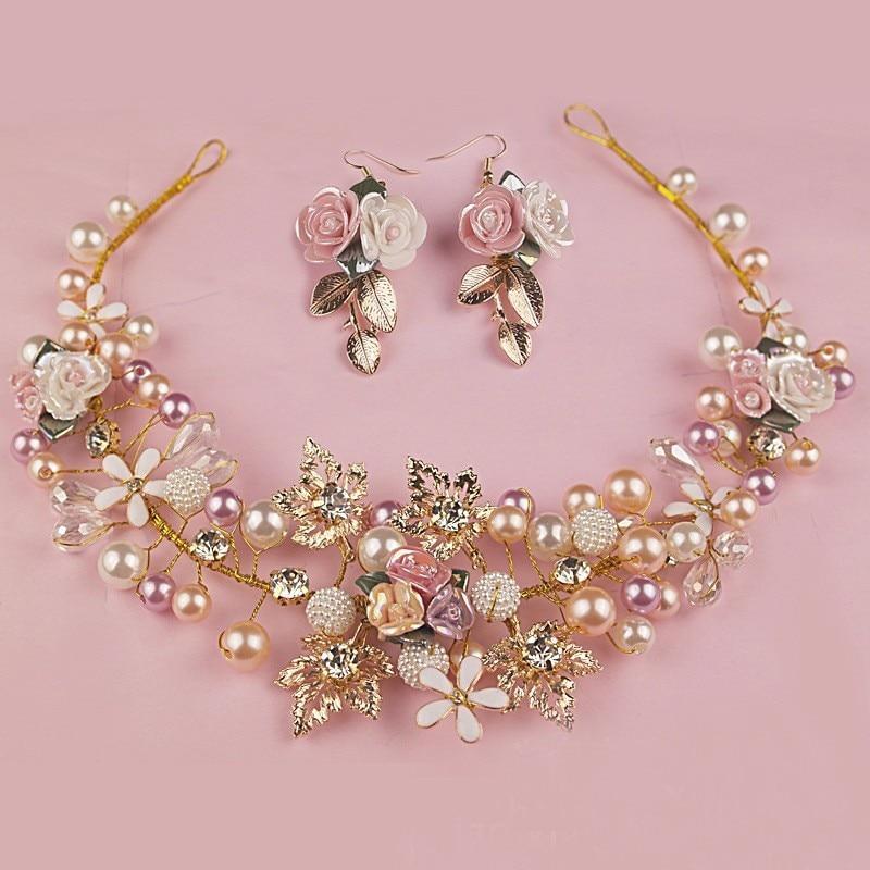 1 Σετ χρυσό χειροποίητα αξεσουάρ λουλουδιών Νυφικό γάμο και κρύσταλλο κεφαλές για τη νύφη Αξεσουάρ μαλλιών παράνυμφος κοσμήματα