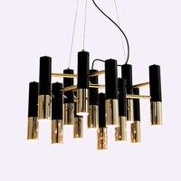 Mordern נורדי LED נברשת מנורת אור מתכת צינור מודרני שחור זהב צינור תליון תליית אור מנורת LED סלון אוכל חדר