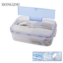 ФОТО 1000ML Outdoor Lunch Box Microwave Food- PP Lunch Bento Box With Soup Bowl Chopsticks Spoon LaunchBox Eco-Friendly LB021