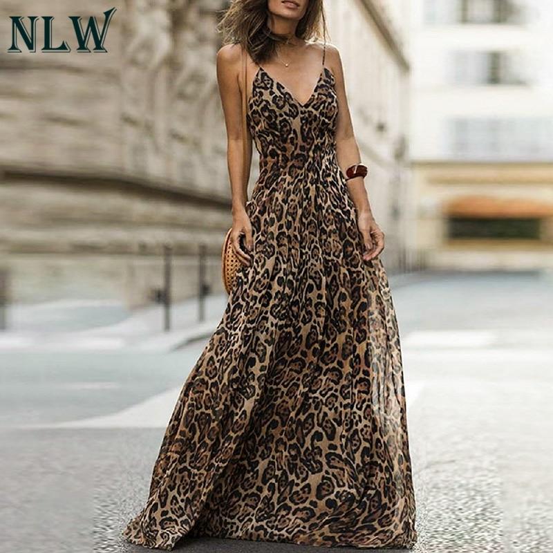 NLW Spagheteei Cinta Estampa de Leopardo Mulheres Vestido Maxi Feminino Vestido Longo de Festa À Noite Vestido de Chiffon Vestidos 2019 Outono inverno