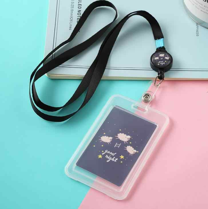 1 Pcs Kawaii สัตว์โปร่งใสตราสัญลักษณ์พร้อม Lanyard Bank บัตรเครดิตผู้ถือ ID ผู้ถือป้ายเครื่องเขียน