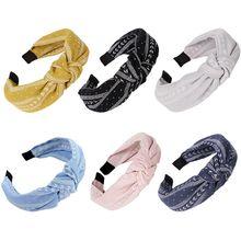 цена на Boho Ethnic Linen Wide Headband Women Girl Handmade Twist Knotted Hair Hoop Vintage Leaves Striped Print Cloth Wrapped Headpiece