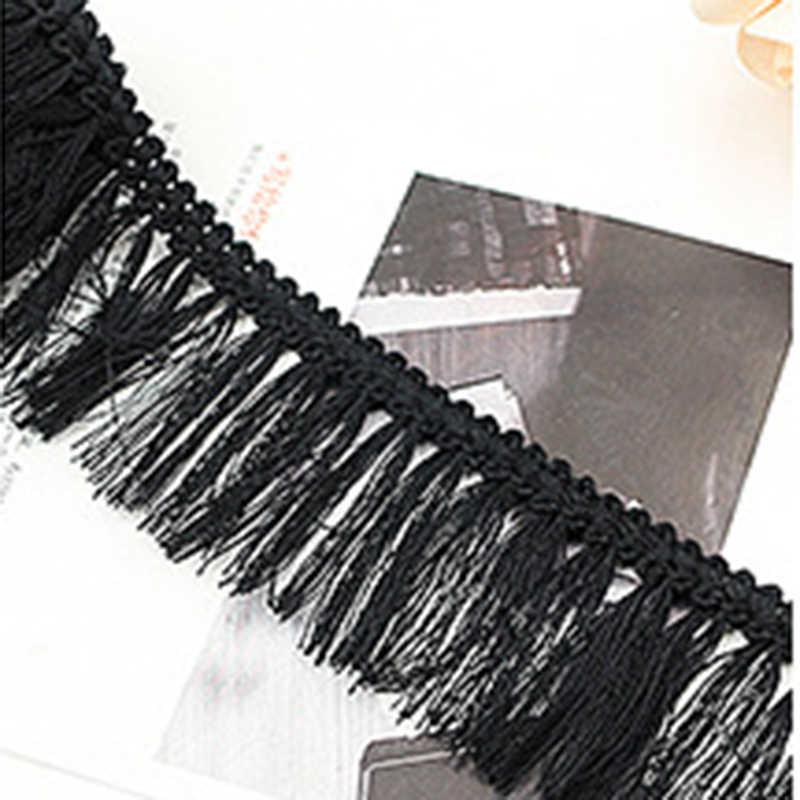 1 metro negro poliéster borla franja blanca encaje cinta decorativa para borde tela apliques de costura artesanal cortina mantel Material DIY