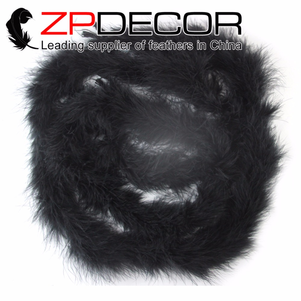 ZPDECOR Factory Wholesale 20 yards/lot 20g Top Quality Black Dyed Long Turkey Marabou Feather Boa for Dancing