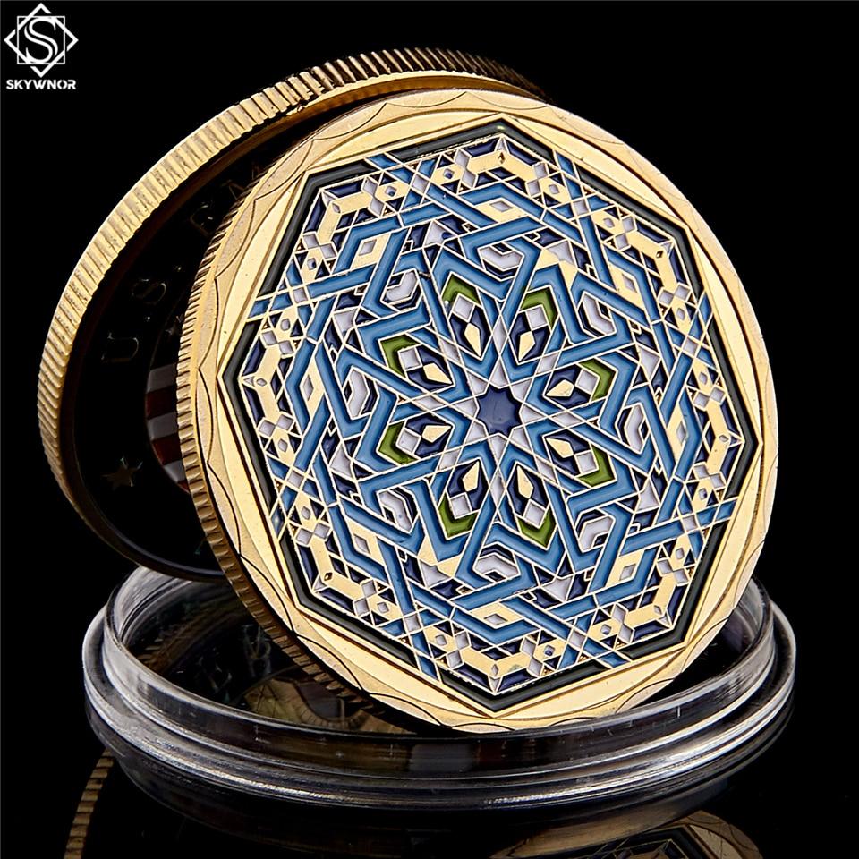 Восьмигранная иллюстрация из Саудовской Аравии, ислама, мусульманского Рамадана, фестиваля кареема, Золотая Коллекционная монета