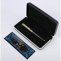 Gratis Verzending Rollerball Pen High-end Goud Blauw Stone en Zilveren rode Steen Duke Balpen Zwarte Inkt Medium Refill Gift pennen