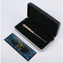 Stylo à bille à Rollerball, haut de gamme en or bleu pierre et argent pierre rouge, stylo à bille Duke, encre noire, recharge moyenne, cadeau