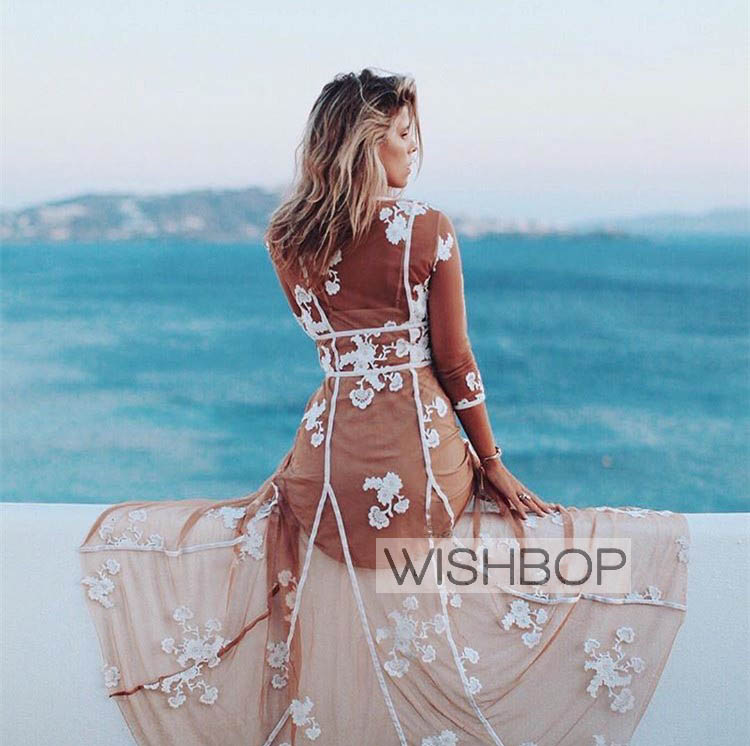 WISHBOP 2018 Sexy Flowers Embroidered Tulle Maxi Dress V neck Long Sleeves Transperant Long DRESS