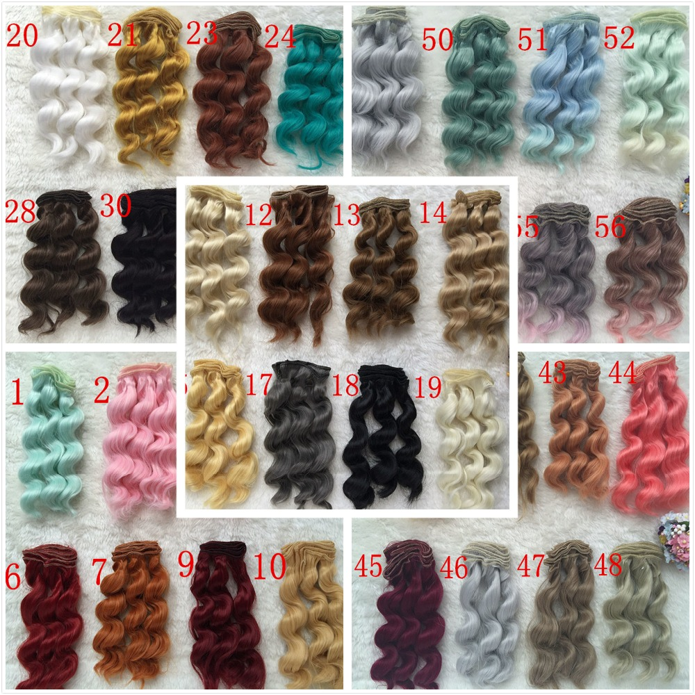 5Pcs/lot Wholesale Colorful Wavy BJD SD DIY Wigs High-temperature Fiber Wire 1/3 1/4 Dolls Noodle Curly Wig Handmade Doll Hair wowhot 1 4 bjd sd doll wigs for dolls high temperature wires short straight bangs fashion wig 1 6 1 3 for dolls accessories toy
