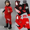 Niños del Hombre Araña de dibujos animados traje de niño sweater + pants dos conjuntos de ocio deportes juego de los niños arropa el envío libre