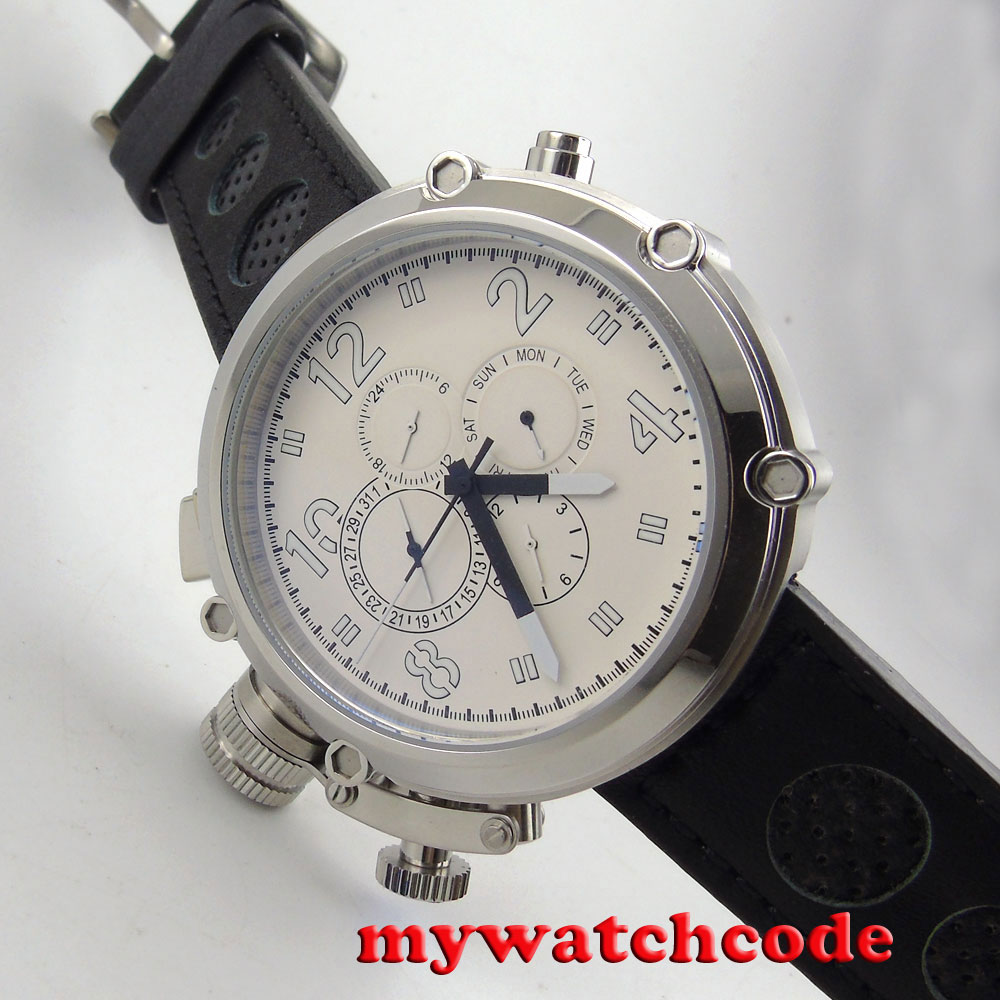 47mm parnis white dial week date multifunction automatic left mens watch P16