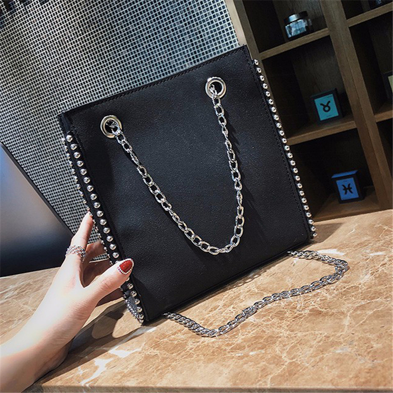 Hand-Bags Chain Bucket Big-Rivet Brown Female Leather Women Casual Lady New-Arrival Pu