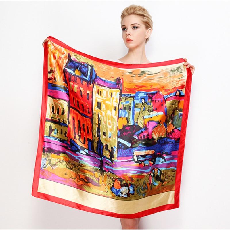 New Fashion European Oil Painting House Large Square Scarves Female Elegant Large Silk Scarf Ladies Bandana Accessories 90*90cm