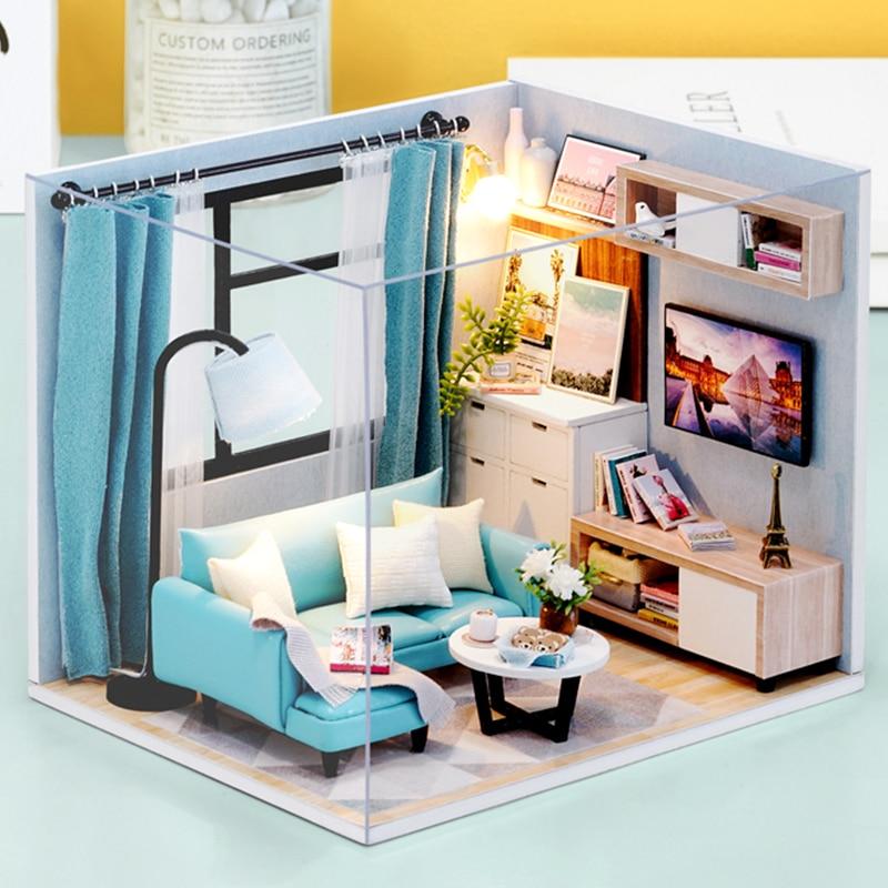 Cutebee Doll House Furniture Miniature Dollhouse DIY Miniature House Toys For Children DIY Dollhouse Gift For Birthday H18-4