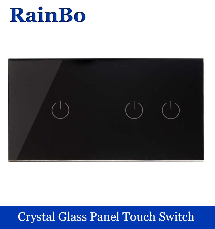 все цены на Touch Switch Screen Crystal Glass Panel Switch EU Wall Switch   Light Switch  1gang+2gang 1 way Black for LED Lamp rainbo онлайн