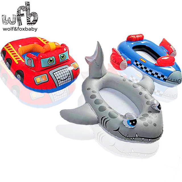 3-6 year Max Capability 30KG Children kids Swim Ring Baby Sitting Circle Life Floating cartoon summer water shark