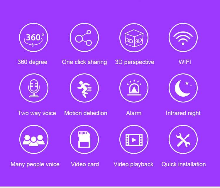 2019 Горячая Wifi камера HD 960P 3D Беспроводная ip-камера 360 градусов Full View сетевая Домашняя безопасность Wi-Fi панорамный фотоаппарат IR 1,44 мм