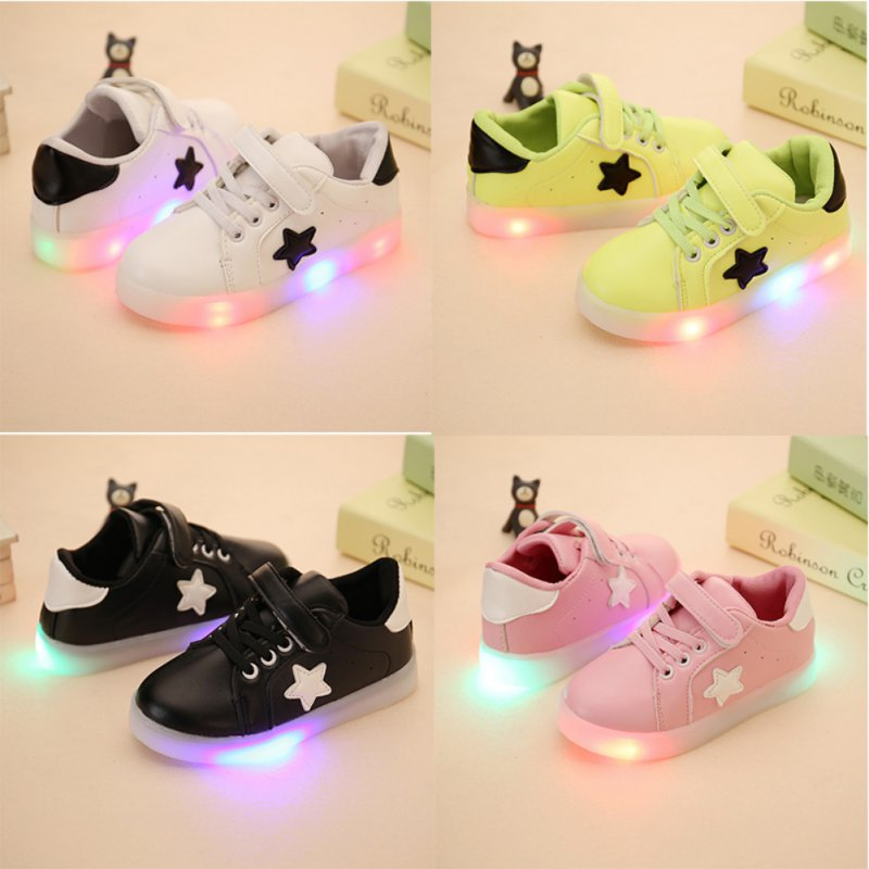 New Kids LED Sneakers Spring Children Colorful Flashing Led Light Girls Casual Shoes Stars Boys Shoe With Lights Size 21-25 S2