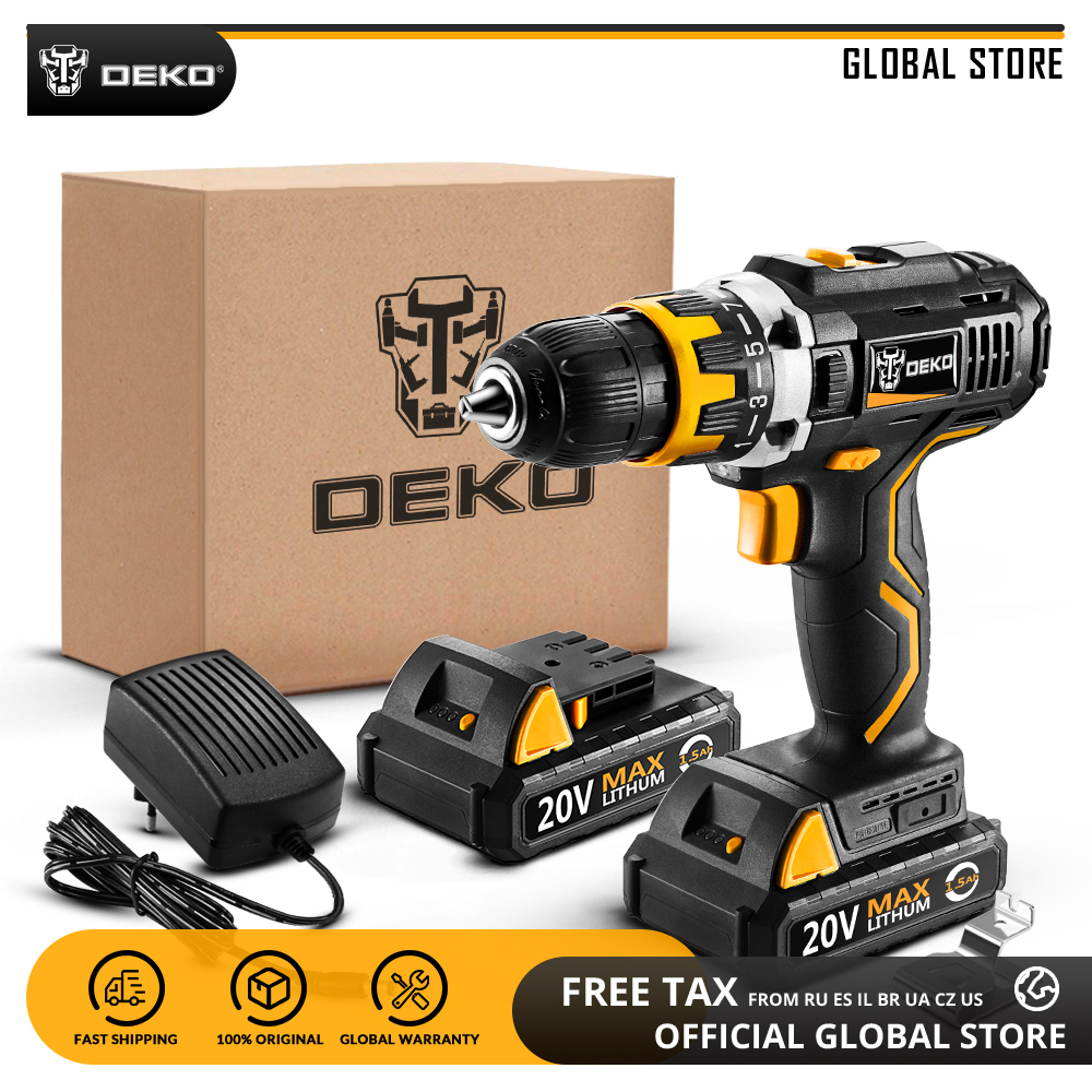 DEKO GCD20DU2 20V MAX Power Tool Variable Speed Electric Screwdriver With LED Light Home DIY Cordless Drill 2 Lithium Battery