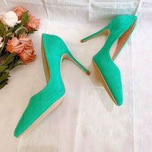 Free shipping fashion women Pumps green mint suede leather Pointy toe high heels pearls shoes bride wedding shoes 12cm 10cm 8cm цены онлайн