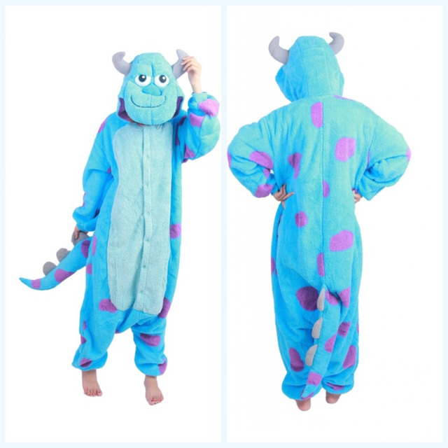1dd94a5b26b6 Top Quality Monster university Sulley Sully onesie adults animal pajamas  Fleece cosplay halloween costumes