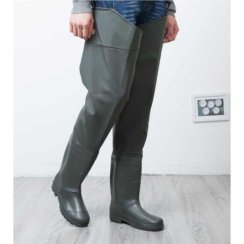 High Jump Unisex Fishing Waders Leg Pants PVC Synthetic Leather Fishing Boots Thickening Sole One Piece