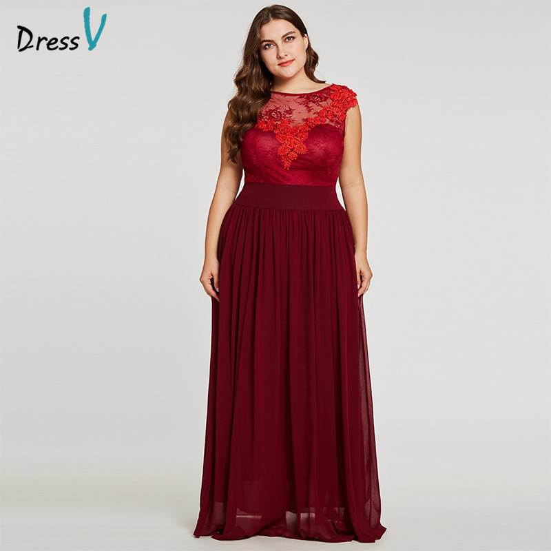 Dressv burgundy scoop neck plus size evening dress elegant a line zipper up wedding party formal dress appliques evening dresses