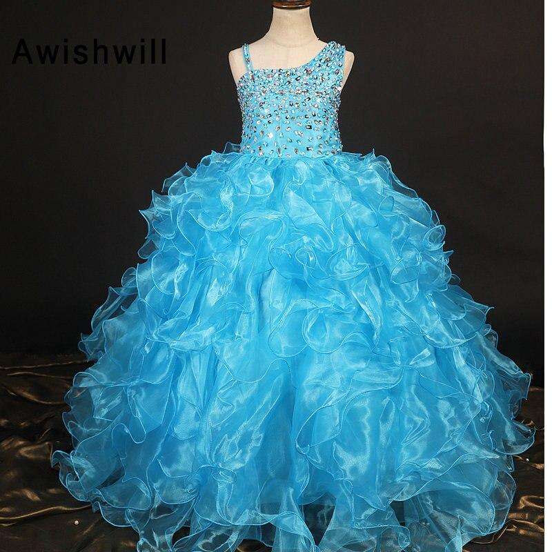 Robe de Communion bleue pour les filles sans manches perlées Ruggles Organza robe de bal fleur filles robes pour la fête et le mariage