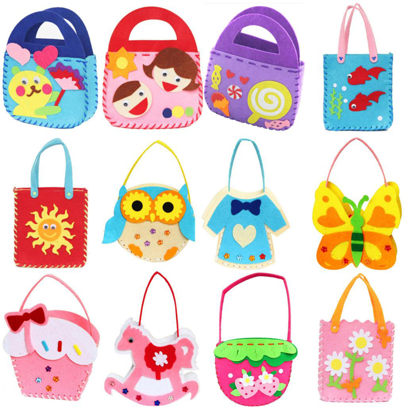 DIY Applique Bag Kids Children Handmade Montessori Toys Non-woven Cloth Cartoon Animal Flower Bag DIY Art Craft Toys For Childre