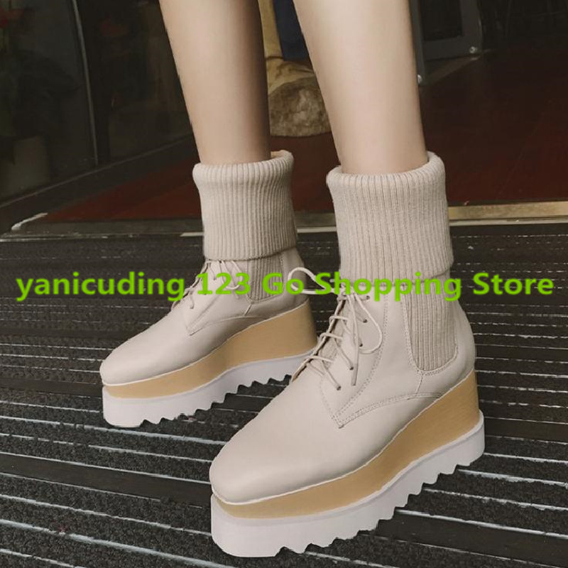 Hot Sale Square Toe Brand Design Star Runway Shoe Platform Women Boots Wedges Tassel Embellished Sock Winter Boots Short Booties yanicuding luxury brand round toe sock women boots slip on short booties stretch shoes autumn winter girl lady runway star shoe