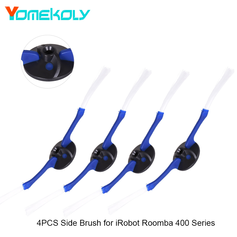 4PCS Side Brushes Fit All Irobot Roomba 4xx Models 2 Armed Side Brush Replacement Accessories for Irobot Vacuum Cleaners 14pcs free post new side brush filter 3 armed kit for irobot roomba vacuum 500 series clean tool flexible bristle beater brush