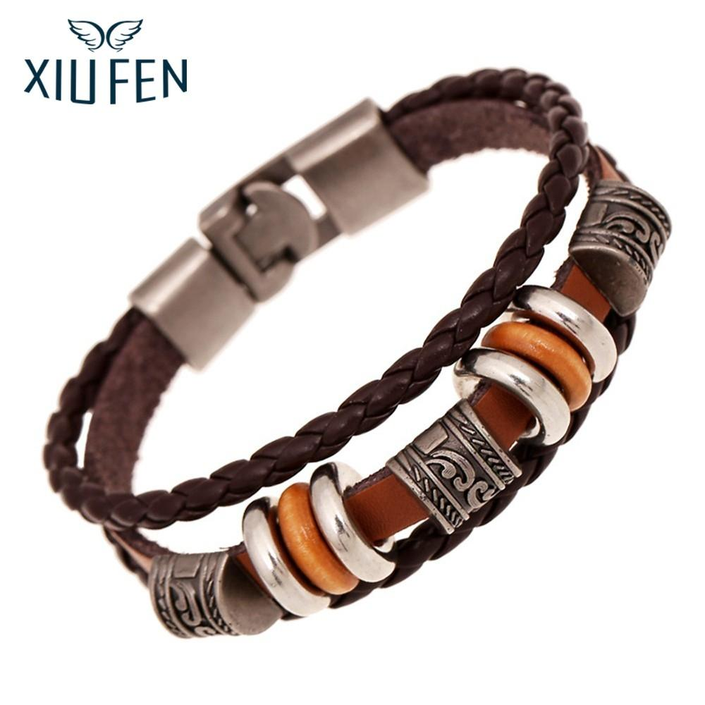 XIUFEN Unisex Fashionable Beaded Leather Bracelet Light Dark Brown Punk Unique New Style Jewelry For Men Women