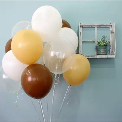 24pcs/lot Thicken 10 inch Brown White Skin Transparent Color Latex Helium Balloon Wedding Birthday Decorations Toys Ball Gifts