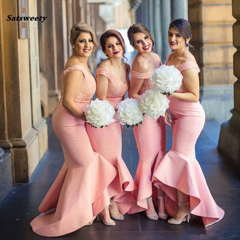 New Arabic Bridesmaids Dresses Sweetheart Off Shoulders Backless Lace Bodice High Low Dubai Ruffle Skirt Maid of the Honor Dress