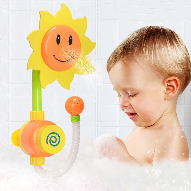 New Born Baby Bath Toys Sunflower Shower Faucet Toy Learning Educational Bathtub Water For Children Swimming In From
