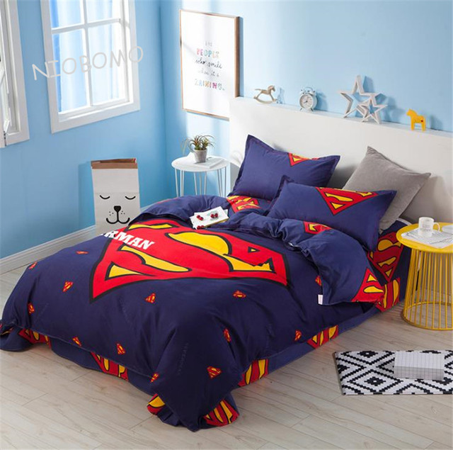 Merveilleux 2018 Spring Bedding Set Brief Style Brushed Printing Duvet Superman Cover Set  Bed Set Bedding