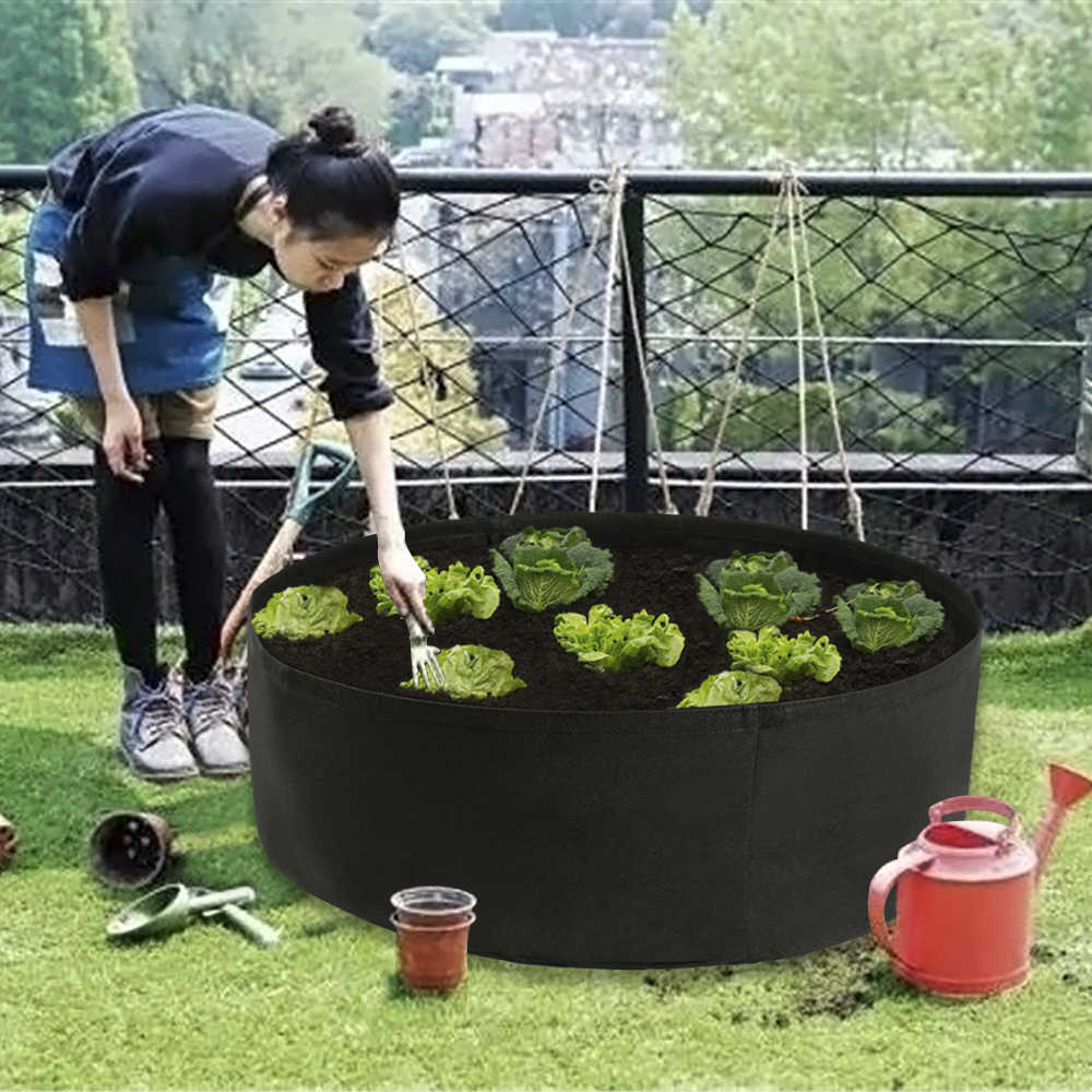 Fabric Raised Garden Bed 50 Gallons Round Planting Container Grow ...