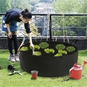 Fabric Raised Garden Bed 50 Gallons Round Planting Container Grow Bags Breathable Felt Fabric Planter Pot for Plants Nursery Pot(China)